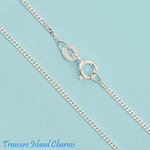 (18'' 1mm Fine Curb Link 925 Solid Neck Chain Necklace Made in USA)