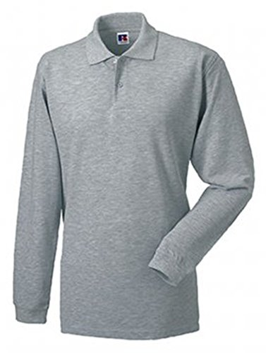Russell Men's Pique Cotton Long Sleeve Polo Shirt Light Oxford XXL