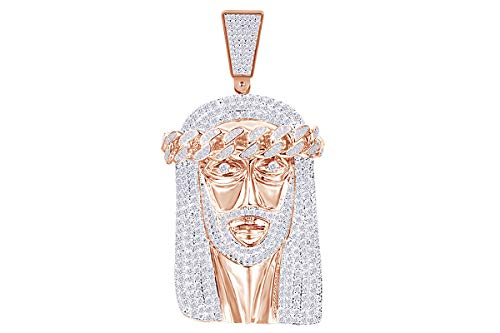 (2 Cttw Round Cut White Natural Diamond Iced Out Hip Hop Jesus Head Charm Pendant In 10k Solid Rose Gold)