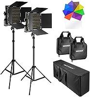 Neewer 2 Pack 660 LED Luz Video con Soporte: (2) 3200-5600K Regulable CRI96 + Luz con Soporte en U y Barndoor (2) Soporte...