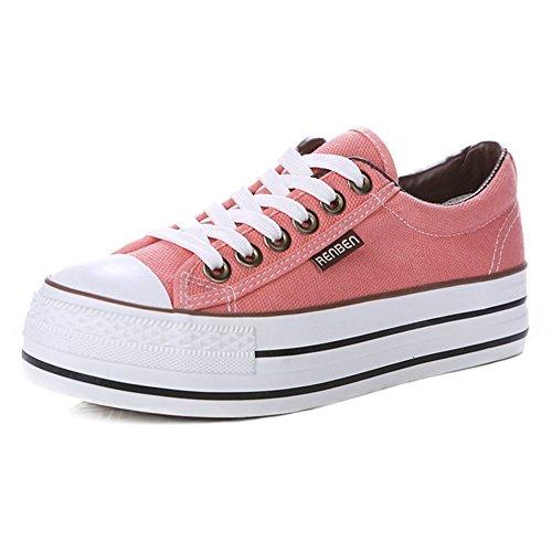 Summerwhisper Donna Casual Sneakers Basse A Piattaforma Alta Allacciate Scarpe Di Tela Di Tela Plimsoll Rosa