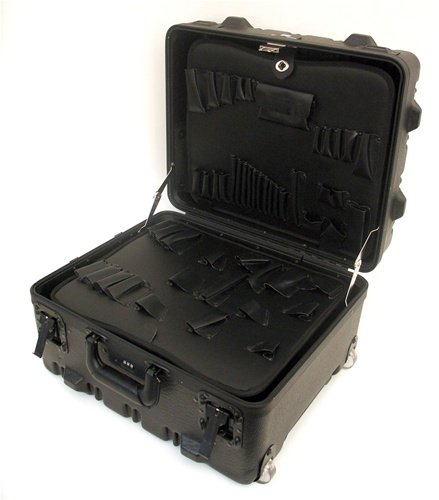 Super-Size Tool Case with Wheels and Telescoping Handle Color: Black