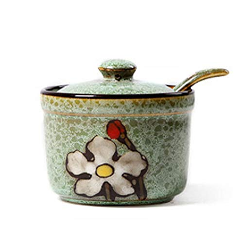 VanEnjoy Retro Hand Painted Flower Ceramic Round Sugar Spice Containers Porcelain Jar with Spoon Round Condiment -