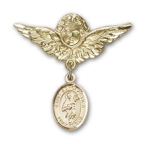 Icecarats Or Bijoux De Créateurs Rempli R. Scholastica Charme Ange Broche De Badge 1 1/8 X 1 1/8
