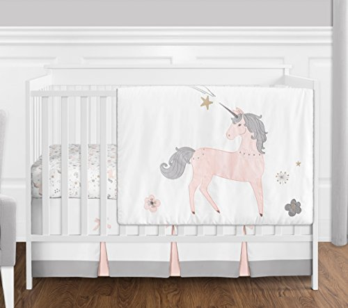Toile Floral Crib (4 pc. Pink, Grey and Gold Unicorn Baby Girl Crib Bedding Set without Bumper by Sweet Jojo Designs)