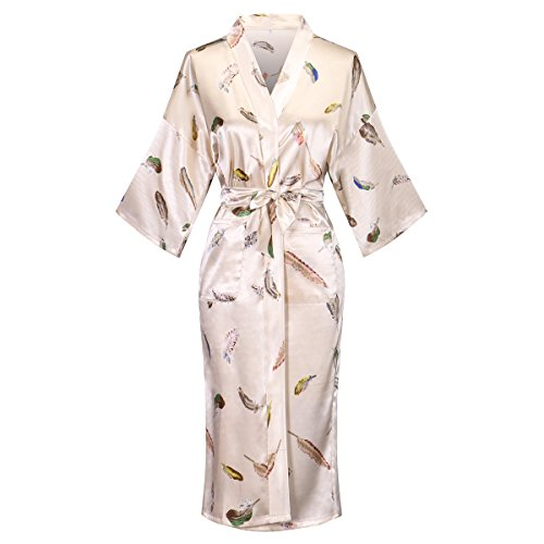 - Womens Long Satin Floral Printed Bathrobe Kimono Nightgown Long Dress Gown