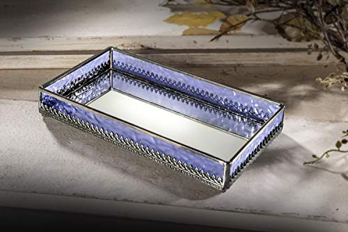 J Devlin Tra 127 Purple Glass Jewelry Tray with Mirrored Bottom Vanity Organizer ()