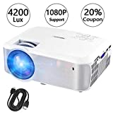 Video Projector, TOPVISION 1080P Supported Ugpraded LED Projector with 4200Lux, 60,000 Hrs Home Movie Projector for Indoor/Outdoor with Speakers, Compatible with Fire TV Stick, PS4, HDMI, VGA, AV, USB
