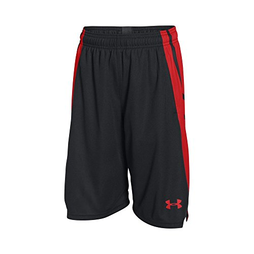 Under Armour Boys' Select Basketball Shorts, Black/Risk Red, Youth X-Small