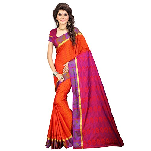 RR And Sons Women's Mysore Silk Saree Kanchipuram Silk Saree Free Size Orange