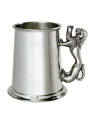 (1 Pint Double Lines Lion Handle Pewter Tankard with Free Engraving)