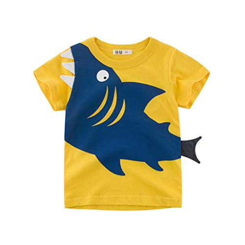 ❤️ Mealeaf ❤️ Children Kids Baby Girls Boys Cartoon Shark Print T-Shirt Tee Tops Clothes (12M-6Y)
