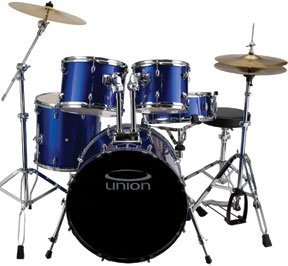 Union DB5770(DB) 5-Piece Jazz/Rock/Blues Drum Set with Hardware, Cymbals and Throne - Metallic Blue