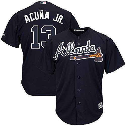 VF LSG Ronald Acuna Jr. Atlanta Braves #13 Officially Licensed Home Cool Base Player Jersey for Men Women Youth Atlanta Braves Ladies Player