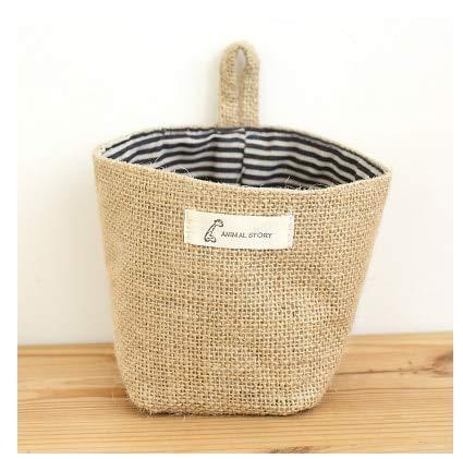 SeedWorld Storage Baskets - Wholesale Zakka Style Storage Box Jute with Cotton Lining Sundries Basket Mini Desktop Storage Bag Hanging Bags 1pcs/lot 60861 1 PCs -