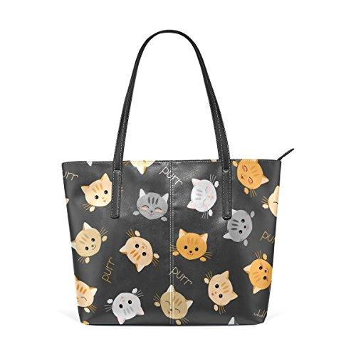 COOSUN Gatito gatos patrón PU cuero bolso monedero y bolsos de la bolsa de asas para las mujeres Medio muticolour