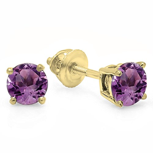 Dazzlingrock Collection 18K 5mm each Round Cut Amethyst Ladies Solitaire Stud Earrings, Yellow Gold