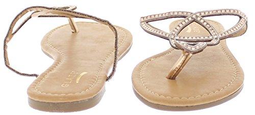 Sandalo Piatto In Cristallo Impreziosito Color Miele 24 Rose