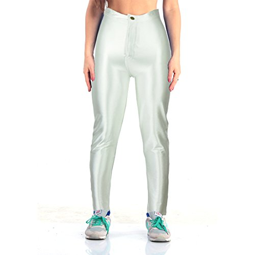Yomsong Women's Clothing High Waist Shiny Satin Disco Pants (Large, Cream)