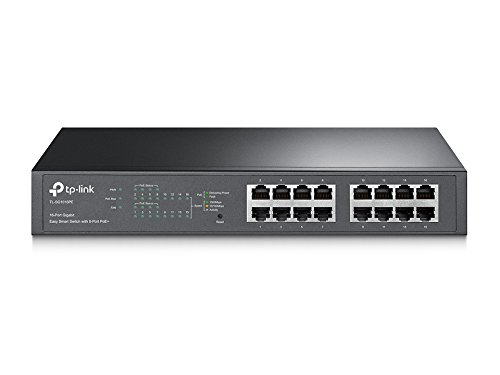 TP-Link 16-Port Gigabit PoE+ Easy Smart Managed Switch with 110W 8-PoE Ports | Unmanaged Plus |  Plug and Play | Desktop/Rackmount | Metal | Lifetime (TL-SG1016PE) by TP-Link