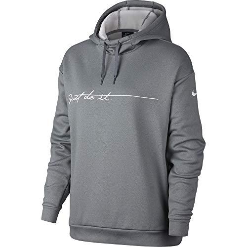 Nike Women's Therma Graphic Fleece Training Hoodie Cool Grey/White Size Medium