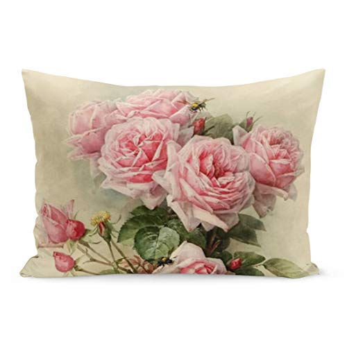 Aikul Throw Pillow Cover Vintage Shabby Chic Pink Victorian Painting Feminine Her Paul Pillow Case Cushion Cover Lumbar Pillowcase Decoration for Couch Sofa Bed Car, Standard Size 20 x 26 - Pink Comforter Gingham