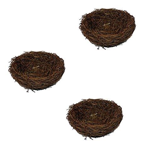 Cestas nidos de pájaro Mignons corbeille nido de Pâque decoración para caramelos de huevos de Pascua, 3pcs FuweiEncore