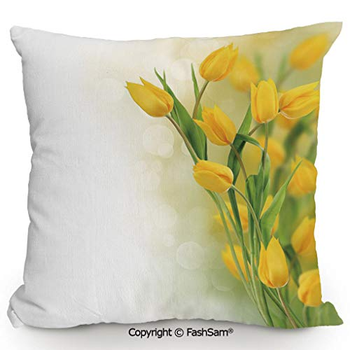 (Polyester Throw Pillow Cushion Romantic Tulip Bouquet Famous Plant of Netherlands Botanical Theme Decorative for Sofa Bedroom Car Decorate(20