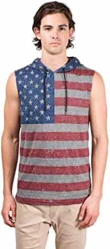 0b0a7936b50d21 Brooklyn Surf Men s American Flag Sleeveless Hoodie Tank Top Stars N Stripes  Shirt