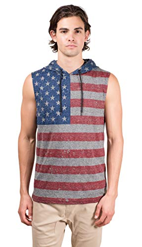 - Brooklyn Surf Men's American Flag Sleeveless Hoodie Tank Top Stars N Stripes Shirt, Black Marl, Medium