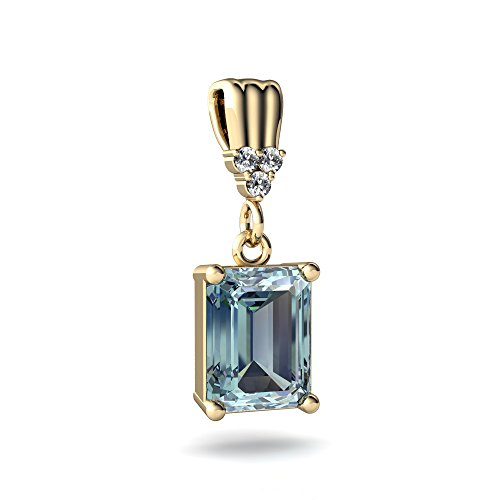 Deco Gold Art Pendant (14kt Yellow Gold Aquamarine and Diamond 9x7mm Emerald_Cut Art Deco Dangle Pendant)