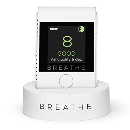 BREATHE|Smart Portable Pollution & Air Quality Monitor, Measures Outdoor and Indoor Air Quality. Monitors Dust, Smoke, PM2.5 Air Pollution. Air Quality Tester - Reduce Your Exposure to Toxic Air (Air Quality Monitoring)