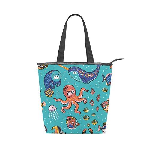 Seal Tote Fish Bag Womens MyDaily Narwhal Handbag Octopus Cartoon Shoulder Canvas 4dSBx7X