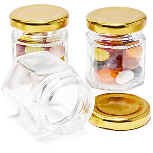 Juvale 36-Pack Bulk 1.5 Ounce Mini Mason Jars With Gold Lids for Spices, DIY Craft Gifts, Wedding and Baby Shower Party Favors -