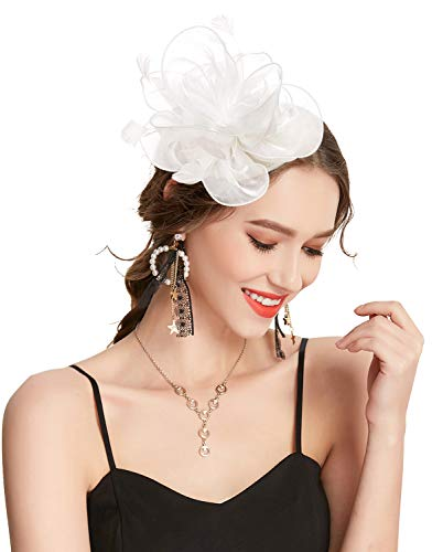 Z&X Fascinator Hat Flower Feathers on Headband and Clip Tea Party Headpiece for Ladies Girls White