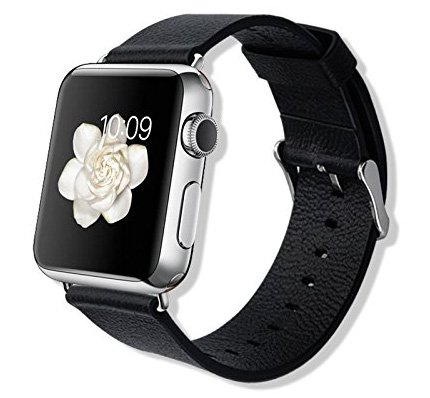 IVSO Apple Watch Strap - High Quality 42mm Bracelet Wrist Watch Band (Watch Chrome Leather Band)