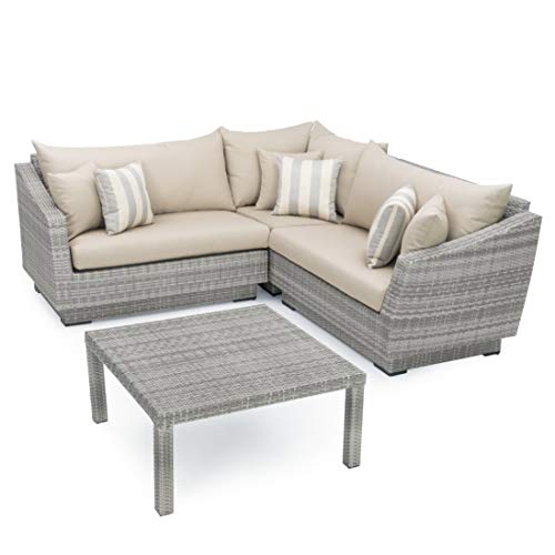 RST Brands 4-Piece Cannes Sectional and Conversation Table Patio Furniture Set