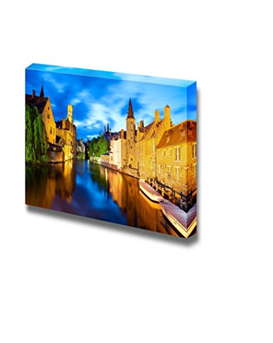 wall26 - Canvas Prints Wall Art - Night View of Canal in Bruges   Modern Wall Decor/Home Decoration Stretched Gallery Canvas Wrap Giclee Print. Ready to Hang - 12