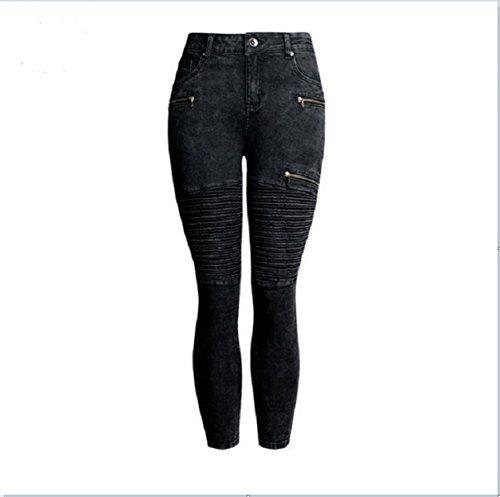 Noir Skinny Pantalon Taille Moto Dcontract Denim Bodycon Biker Haute Jeans Pantalon Femmes O1SnqPS