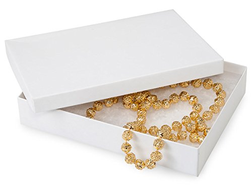 7x5x1-1/4'' White Kraft Recycled Jewelry Boxes with Eco Fiber (Unit Pack - 100)