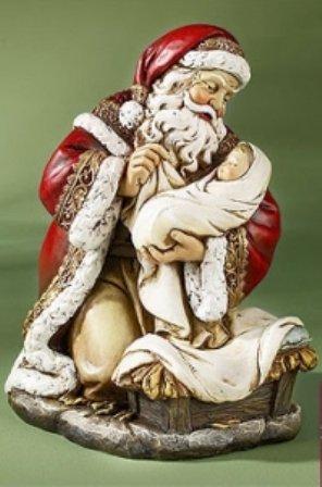 Adoring Kneeling Santa Holding Infant Jesus Painted Resin Christmas Statue, 7 Inch
