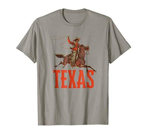 (Retro Roping Cowboy & Bronco Texas T-Shirt)