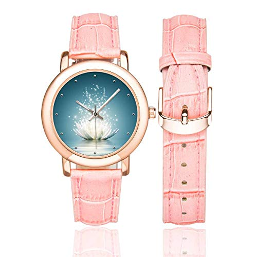 93249bb0fb7 InterestPrint Spiritual Meditation Yoga Lotus Flower Women s Rose  Gold-plated Wrist Watches with Leather Strap