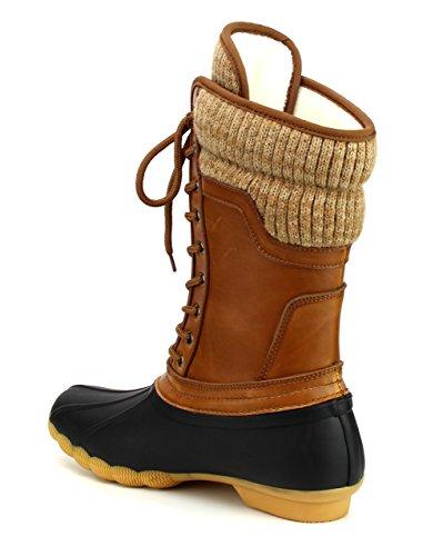 362c23c8f95 Refresh Hunter-07 Women's Waterproof Rubber Rain Skimmers Duck Boots ...