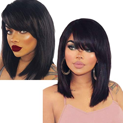 SOOTOP Women's Fashion Front lace Wig Synthetic Hair Short Fluffy Wigs Straight Heat Friendly Synthetic Cosplay Party Wigs Glueless Hair Extensions ()
