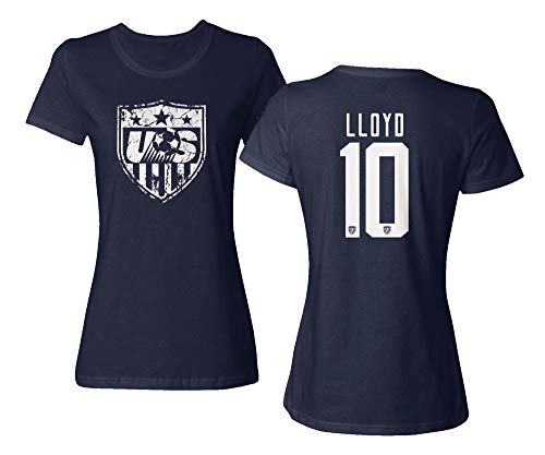 (TURXIN New Soccer Shirt America USA National Team #10 Carli Lloyd Ladies Crewneck T-Shirt (Navy, X-Large))