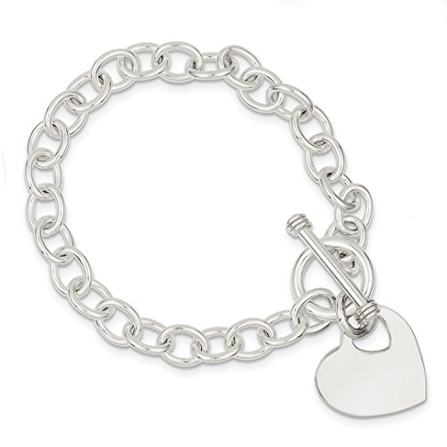 Diamond Toggle Bracelet - ICE CARATS 925 Sterling Silver Engraveable Heart Disc On Link Toggle Bracelet Charm W/charm /love Fine Jewelry Ideal Gifts For Women Gift Set From Heart