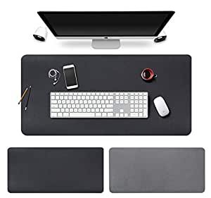 BUBM Smooth Leather Desk Mat Protector Large Gaming Mouse Pad for Office and Home, 35'' x 18'', Black (BGZD-RL-Black)