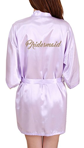 DF-deals Women's Satin Kimono Robe for Bridesmaid and Bride Wedding Party Getting Ready Short Robe with Gold - Photo Tie Personalized