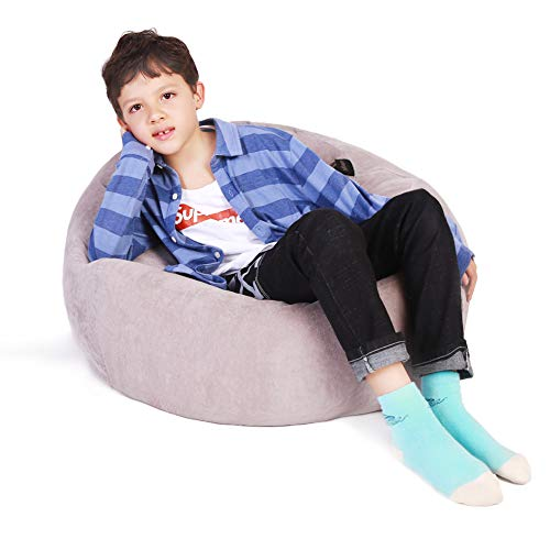 """Lukeight Stuffed Animal Storage Bean Bag Chair, Bean Bag Cover for Organizing Kid's Room - Fits a Lot of Stuffed Animals, Standard Size 38"""", Gray from Lukeight"""